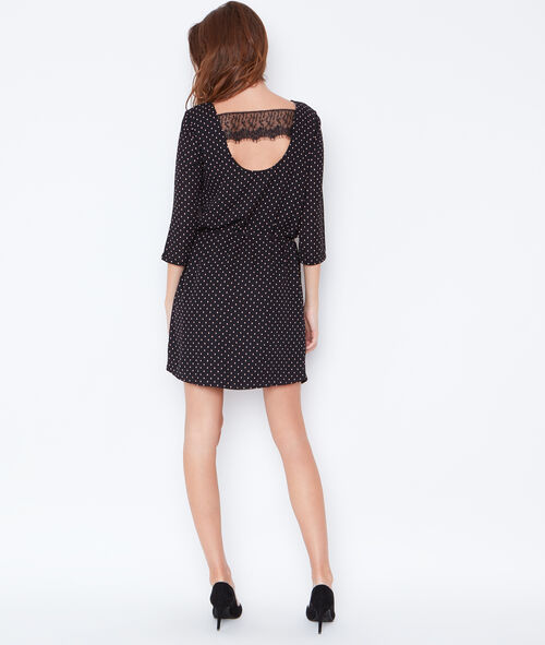 Dotty belted dress with lace back detail