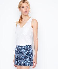 Short imprimé en coton bleu marine.