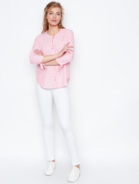 Chemise rayée manches 3/4 corail.