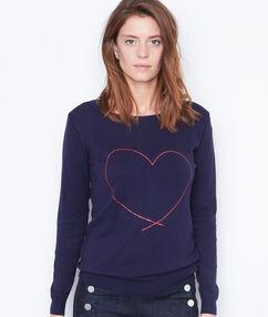 Pull imprimé coeur bleu marine.