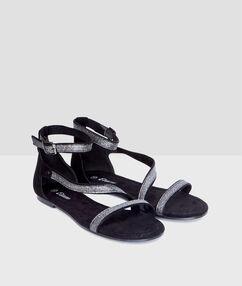 Sandalias con tiras purpurina negro.