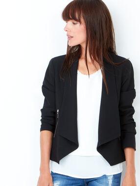 Veste effet cascade à poches zippées noir.