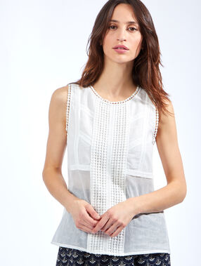 Guipure and cotton top white.