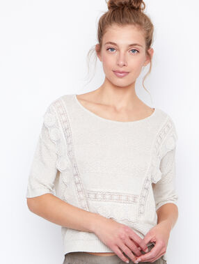 3/4 sleeves sweater beige.