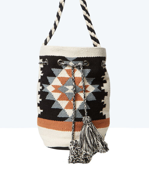 Aztec print bucket bag
