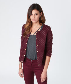 Coton cardigan with long sleeves burgundy.