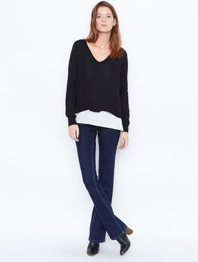 2 in 1 fine knit sweater black.