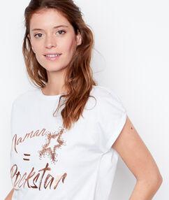 T-shirt imprimé doré blanc.
