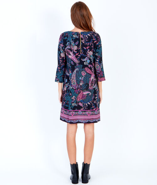 Cashmere print 3/4 sleeve dress