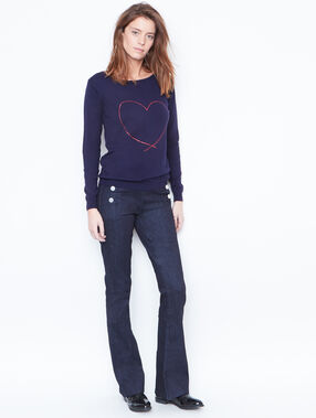 Heart printed sweater navy.