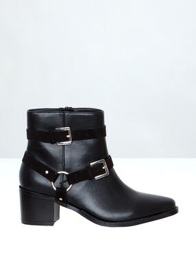 Boots with buckle straps black.