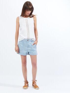 Short en jean large poches à rayures bleu clair.
