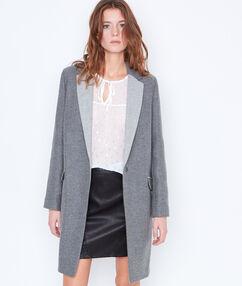 Manteau en laine bicolore gris anthracite.