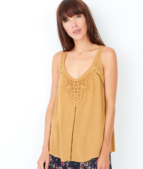 Sleeveless top with guipure detail