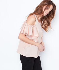 Cold shoulder top light pink.