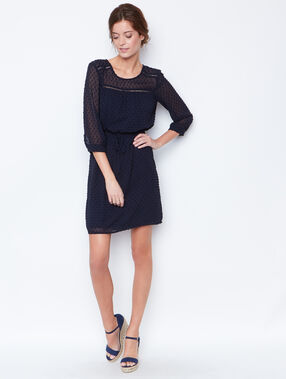 Plumetis flowing dress navy.