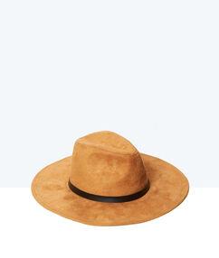 Chapeau en cuir à bord large tabac.