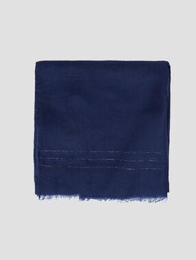 Foulard avec liserés argentés bleu marine.