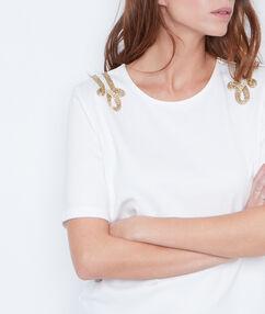 T-shirt épaules ornées blanc.