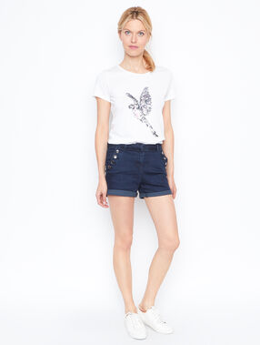 Short en jean boutonné denim.