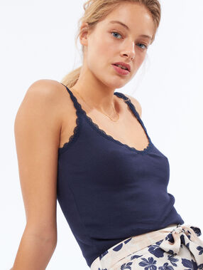 Tank top with lace detail navy.