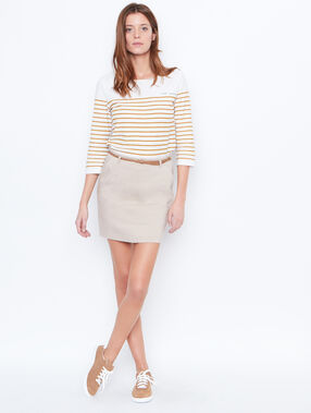Belted straight skirt beige.