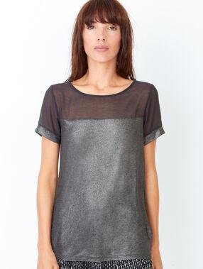 Short sleeve t-shirt, iridescent aspect black.
