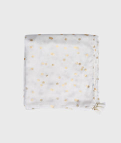 Pañuelo estampado a lunares blanco.
