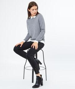Sweater with shirt collar grey.