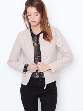 Round collar jacket light pink.
