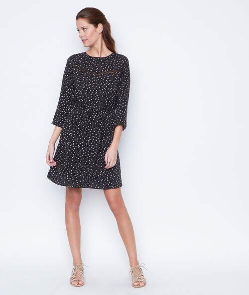 Lace details printed dress