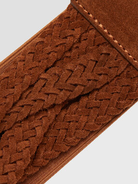 Wide twisted belt brown.