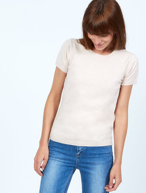 Pull fin col rond rose poudre.