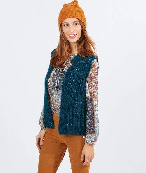 Gilet tricot brillant sans manches