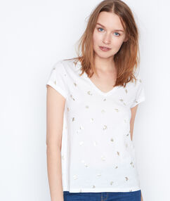 Camiseta estampado dorado blanco.