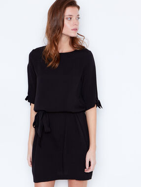Belted dress with split sleeve black.