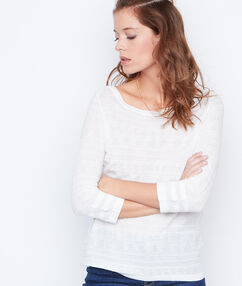 Pull col rond blanc.