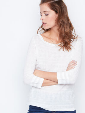 3/4 sleeves sweater white.