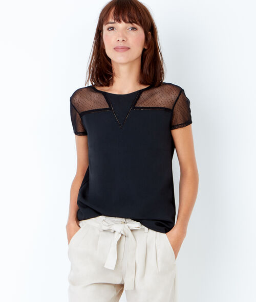 T-shirt manches courtes avec empiècement dentelle