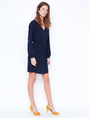 Belted dress with mesh detail in the back navy.
