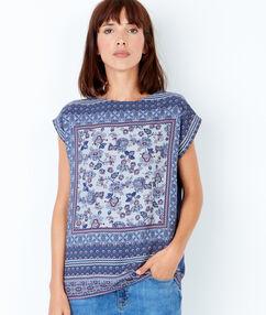T-shirt manches courtes, imprimé foulard bleu nuit.