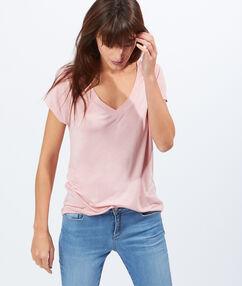 T-shirt col v rose.