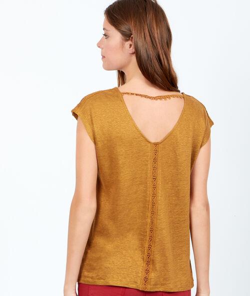 T-shirt en lin col V au dos