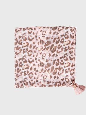 Leopard printed scarf khaki.