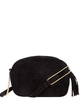 Quilted bag with chain strap black.