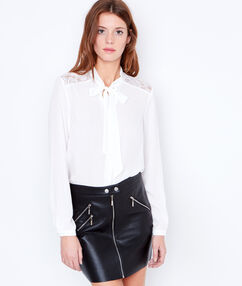 Tie neck blouse with lace detail white.