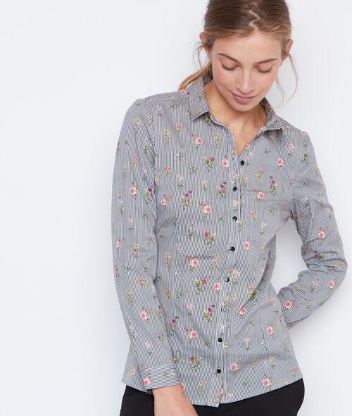 Chemise rayée à fleurs