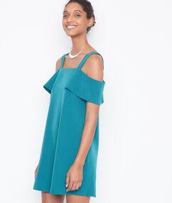Vestido hombros al descubierto esmeralda.