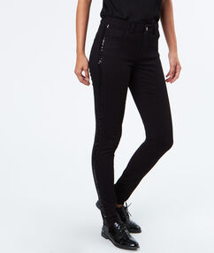 Pantalon slim empiècement strass noir.