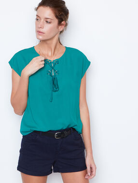Lace short sleeves top emeraid.